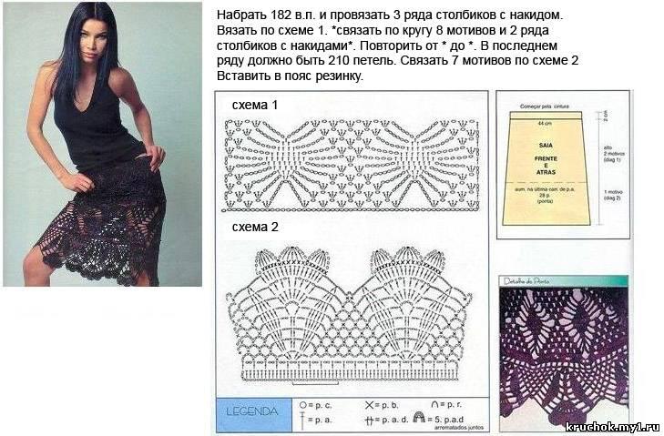 Юбка крючком схемы и описание для женщин